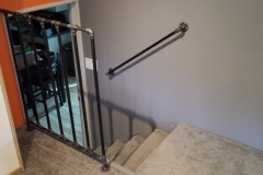 Black iron pipe guardrail and handrail